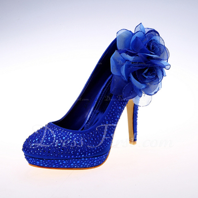Women's Satin Stiletto Heel Closed Toe Platform Pumps With Flower (047057139)