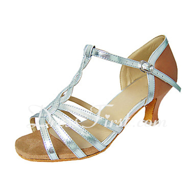 Women's Leatherette Patent Leather Heels Sandals Latin With T-Strap Dance Shoes (053013277)
