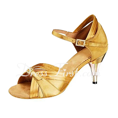 Women's Satin Heels Sandals Latin Wedding Party With Rhinestone Buckle Dance Shoes (053013168)