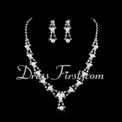 Gorgeous Alloy/Pearl With Rhinestone Ladies' Jewelry Sets (011026640)