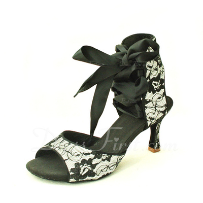 Women's Lace Sandals Latin With Ankle Strap Dance Shoes (053016422)