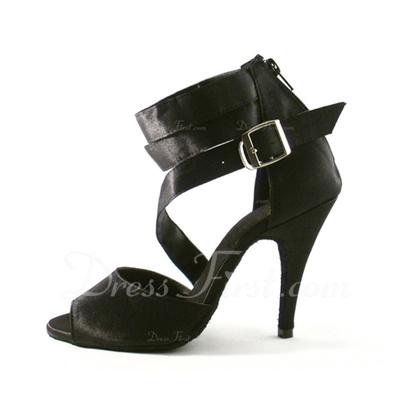 Kadın Saten Topuk Sandalet Latin Ile Ayakkabı Askısı Dans Ayakkabıları (053057392)