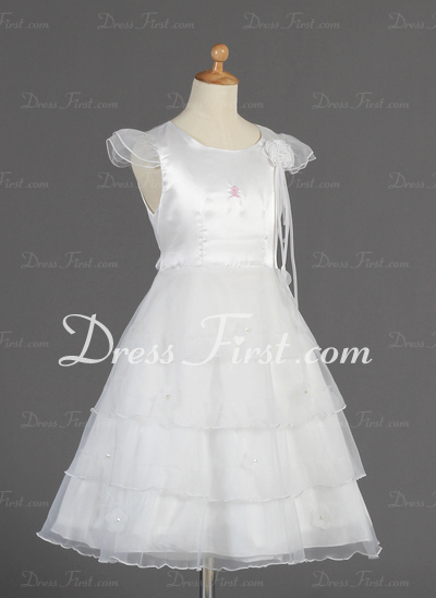 A-Line/Princess Tea-length Flower Girl Dress - Organza/Charmeuse Short Sleeves Scoop Neck With Beading/Flower(s)/Bow(s) (010014660)