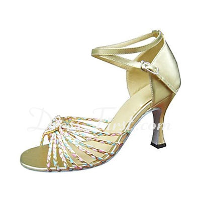Women's Leatherette Heels Sandals Latin With Ankle Strap Dance Shoes (053013245)
