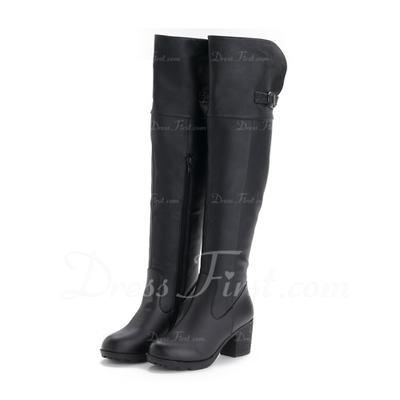 Gerçek Deri Kalın Topuk Diz Yüksek Boots ayakkabı (088056637)