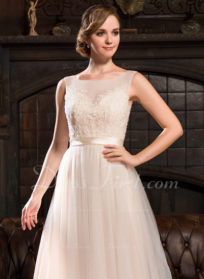 A-Line/Princess Scoop Neck Sweep Train Tulle Lace Wedding Dress With Beading Sequins (002054356)