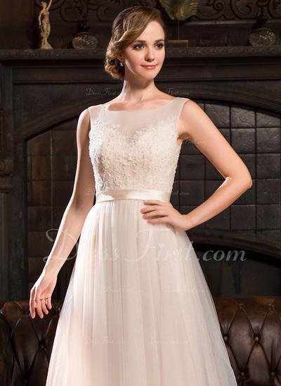 Corte A/Princesa Escote redondo Barrer/Cepillo tren Tul Encaje Vestido de novia con Bordado Lentejuelas (002054356)