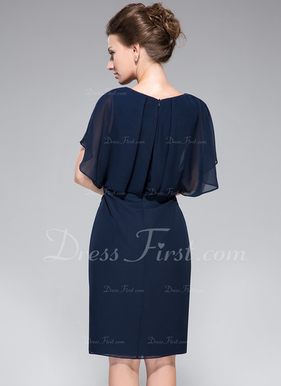 Sheath/Column V-neck Knee-Length Chiffon Mother of the Bride Dress With Lace Beading Sequins Split Front Cascading Ruffles (008050417)