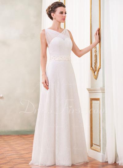 Çan/Prenses V Yaka Uzun Etekli Tulle Charmeuse Lace Gelinlik (002042406)