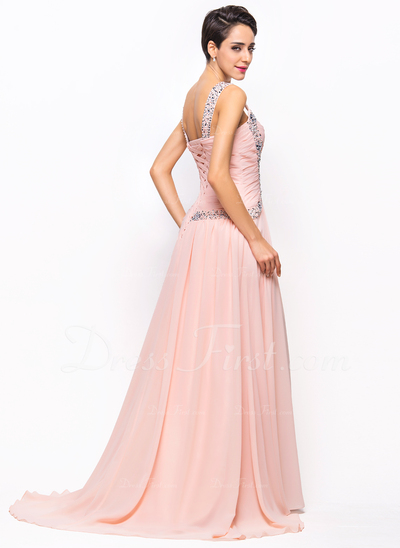 A-Line/Princess Sweetheart Sweep Train Chiffon Evening Dress With Ruffle Beading Sequins (017022730)