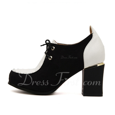 Leatherette Chunky Heel Pumps Closed Toe shoes (085055289)
