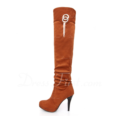 Suede Stiletto Heel Knee High Boots With Sequin shoes (088055055)