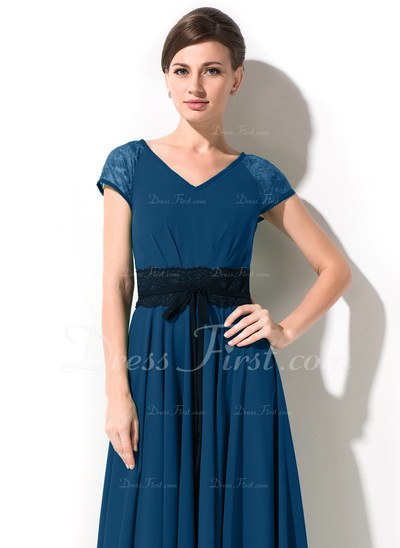 A-Line/Princess V-neck Ankle-Length Chiffon Mother of the Bride Dress With Bow(s) (008042825)