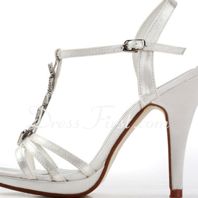 Women's Satin Stiletto Heel Platform Sandals With Rhinestone (047011850)