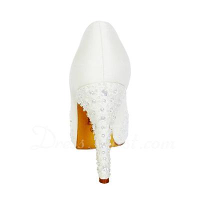 Kadın Satin İnce Topuk Peep Toe Pompalar Sandalet Ile Yapay elmas (047057113)