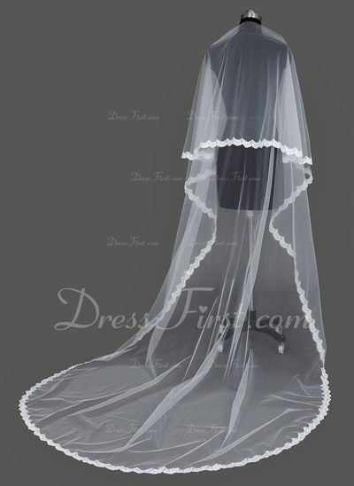 Einschichtig Dom Braut Schleier mit Spitze Saum (006031075)