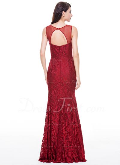 Denizkızı Yuvarlak Yaka Uzun Etekli Tulle Lace Gece Elbisesi Ile Boncuklama Pullarda (017056517)