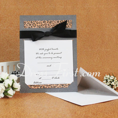 Classic Style Flat Card Invitation Cards With Ribbons (Set of 50) (114030773)