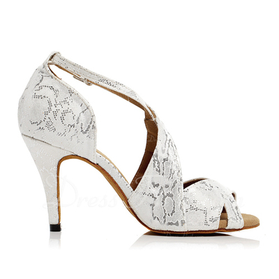 Women's Satin Heels Sandals Latin Dance Shoes (053054504)