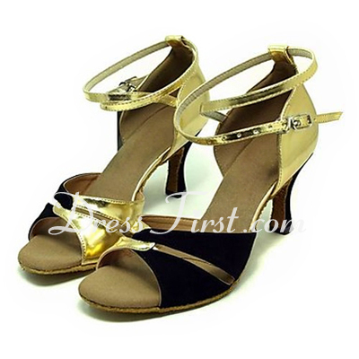 Women's Leatherette Nubuck Heels Sandals Latin With Ankle Strap Dance Shoes (053013373)