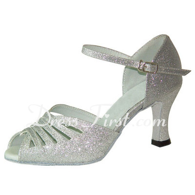 Women's Leatherette Sparkling Glitter Heels Sandals Latin With Hollow-out Dance Shoes (053022312)
