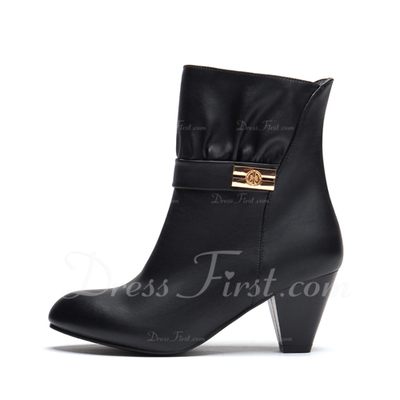 Leatherette Cone Heel Ankle Boots shoes (088055062)