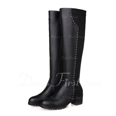 Gerçek Deri Alçak Topuk Diz Yüksek Boots ayakkabı (088056315)