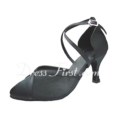 Women's Satin Heels Pumps Ballroom With Ankle Strap Dance Shoes (053013209)