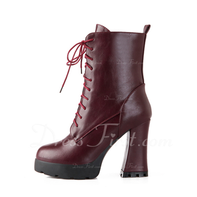 Leatherette Chunky Heel Platform Ankle Boots With Lace-up shoes (088054727)