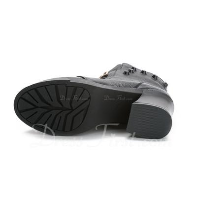 Gerçek Deri Kalın Topuk Ayak bileği Boots Ile Bağcıklı ayakkabı (088056635)