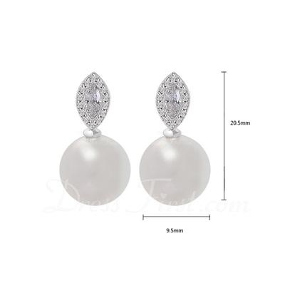 Charming Pearl/Zircon/Platinum Plated Ladies' Earrings (011057442)
