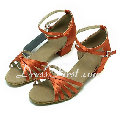 Kids' Satin Sandals Latin Ballroom Dance Shoes (053013543)