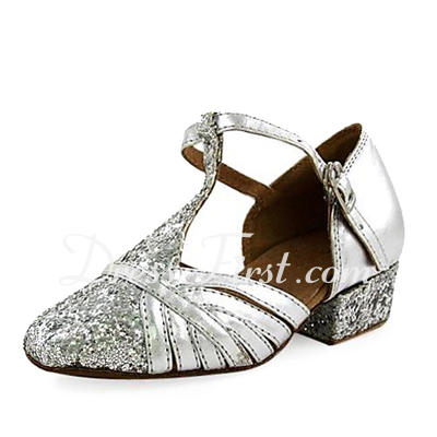 Women's Kids' Leatherette Sparkling Glitter Heels Modern With T-Strap Dance Shoes (053013188)