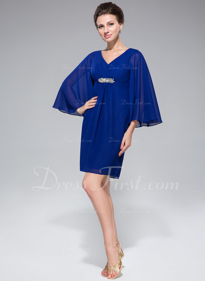Empire V-neck Short/Mini Chiffon Mother of the Bride Dress With Ruffle Beading (008042324)