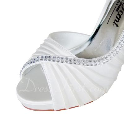 Kadın Satin İnce Topuk Peep Toe Platform Pompalar Ile Yapay elmas (047057376)