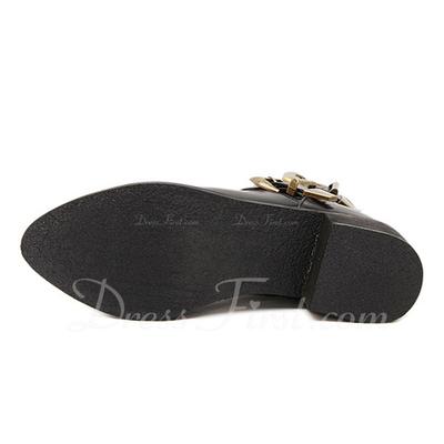 Suni deri Alçak Topuk Kapalı Toe Bot Ayak bileği Boots Ile Toka Fermuar ayakkabı (088057547)