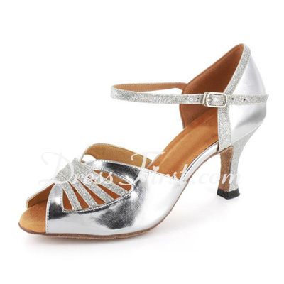 Women's Sparkling Glitter Patent Leather Heels Sandals Latin Ballroom Wedding Party Dance Shoes (053021561)