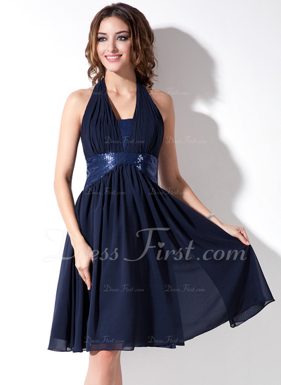A-Line/Princess Halter Knee-Length Chiffon Sequined Homecoming Dress With Ruffle (022020628)
