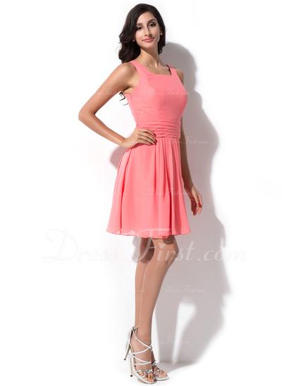 A-Line/Princess Square Neckline Knee-Length Chiffon Bridesmaid Dress With Ruffle (007050348)