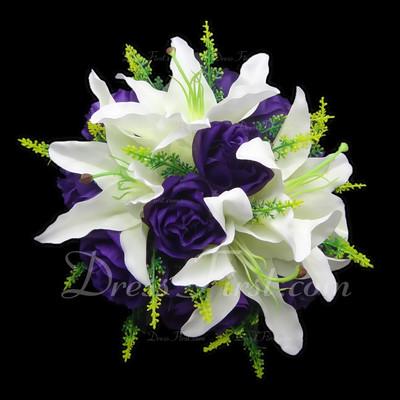 Charming Round Satin Bridal Bouquets (123031497)
