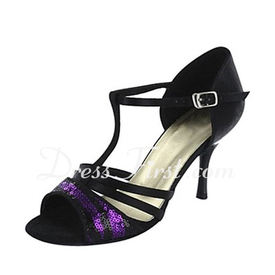 Women's Satin Heels Sandals Latin Ballroom With T-Strap Sequin Dance Shoes (053018553)