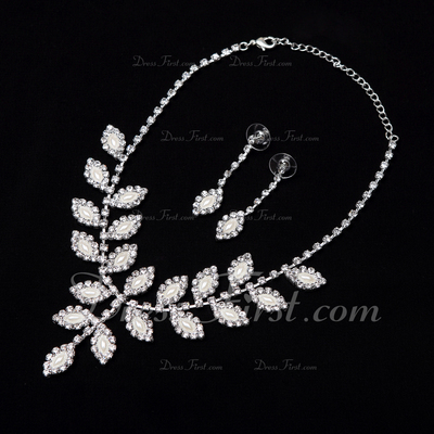 Leaves Shaped Alloy/Rhinestones Ladies' Jewelry Sets (011055161)
