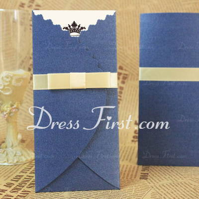 Classic Style Tri-Fold Invitation Cards With Bows/Ribbons (Set of 50) (114030705)