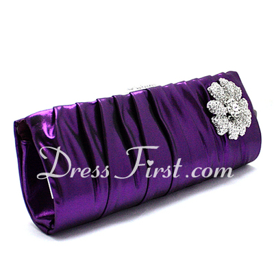 Gorgeous Satin With Rhinestone Clutches (012027022)