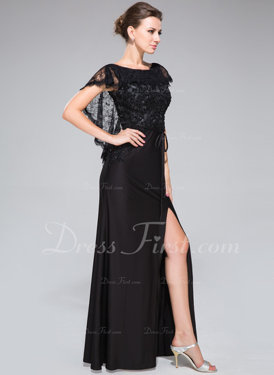 Trumpet/Mermaid Scoop Neck Floor-Length Lace Jersey Evening Dress With Beading Sequins Split Front (017050134)