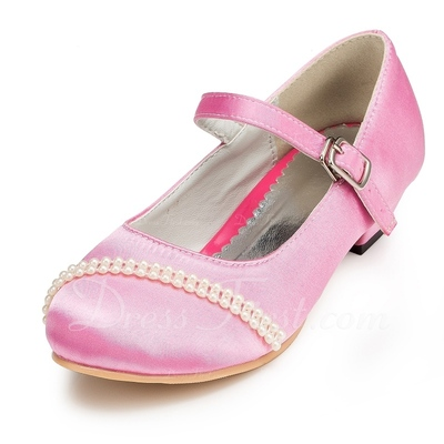 Kids' Satin Low Heel Closed Toe Pumps With Buckle Imitation Pearl (047056270)