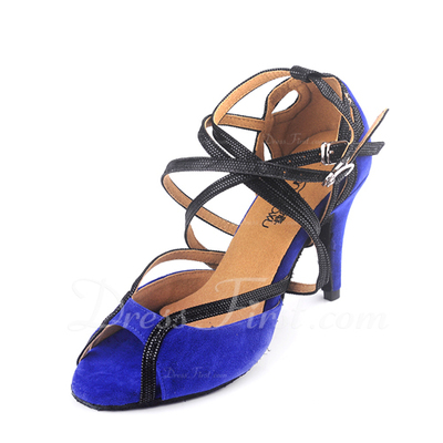 Women's Leatherette Nubuck Heels Sandals Latin With Ankle Strap Dance Shoes (053043306)