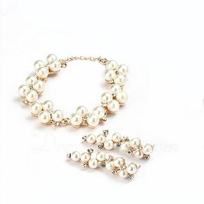 Şık alaşım/Inci Ile Yapay elmas Bayanlar Takı Setleri (011057632)
