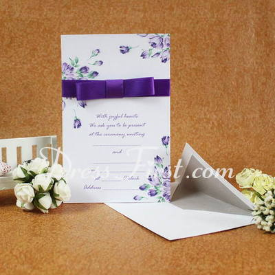 Classic Style Flat Card Invitation Cards With Ribbons (Set of 50) (114030746)