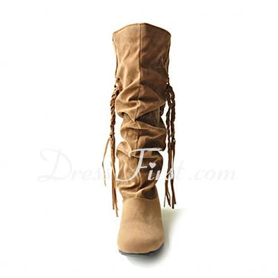 Süet Kalın Topuk Daireler Kapalı Toe Mid-Buzağı Boots Ile Püskül ayakkabı (088013946)